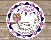 Chevron Bunting Owl--address or name or party stickers---choose size--- glossy or matte