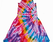 Tie Dye Dress in Hot Pink and Rainbow- cute and fun for summer