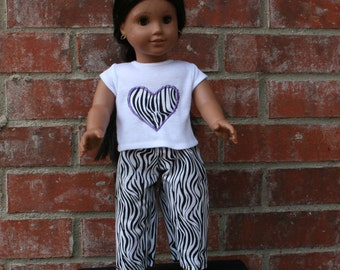 18 Inch Doll Zebra Print Pajamas with a Zebra Heart- Fits American Girl and Other 18 Inch Dolls