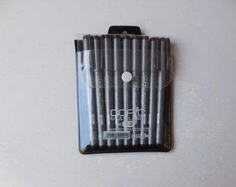 Copic Multi Liner Pen Set, Includes 9 pens