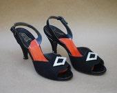 Vintage 50's slingback heels / rhinestone / 1950's shoes / open toe shoes