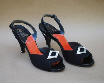 Vintage 50's slingback heels / rhinestone / 1950's shoes / open toe shoes