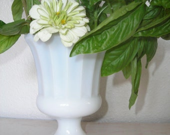 milky white vase - milk glass footed flower vessel - shabby cottage chic - ivory pedestal container with scalloped edging