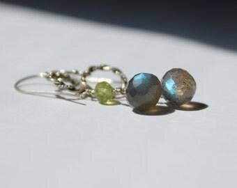 Sterling silver Labradorite and peridot dangle earrings