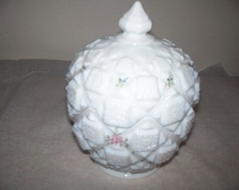Westmoreland milk glass covered dish