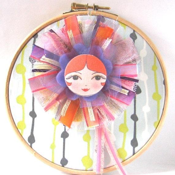 Art Doll Brooch, Fabric Brooch, Button Jewellery, Flower Corsage, Textile Brooch, Cute Flower Pin