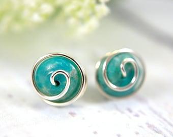 Turquoise post earrings rosebud spiral earrings gemstone 925 sterling silver wire wrapped turquoise gemstone stud earrings medium 10mm small