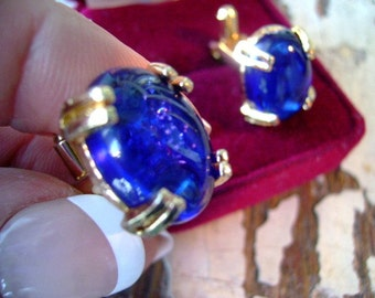 vintage 60s resin cufflink starlight Blue men unisex gift Fathers Day Gold tone plated
