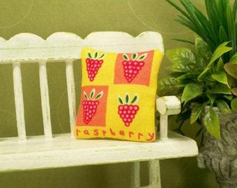 Raspberry Pillow Pink Yellow Raspberries 1:12 Dollhouse Miniatures Scale Artisan