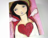 Love me Tender Angel  - Greeting Card 5 x 7 inches - Folk Art By FLOR LARIOS