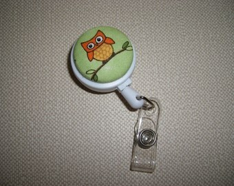 Clip On Retractable ID Badge Holder . Fabric Covered Button . Owl