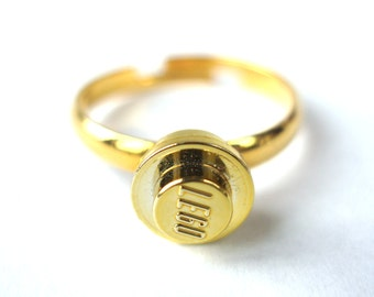 Metalic Gold Stud Ring, engagement ring, wedding ring - Handmade with LEGO(r) studs