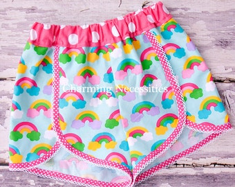 Girls Summer Retro Scalloped Shorts in Rainbows and Polka Dots by Charming Necessities, Rainbows, Boutique Clothing