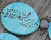Pottery Cuff Bead, The Elli with Wander quote