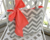 Gray Chevron Tote Bag, Every Day Bag, Diaper Bag with Coral Sash Bow