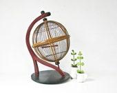 Bird Cage, Globe, Round Wood Birdcage, Rare, Handmade