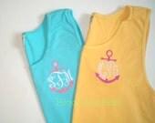 Anchor Monogram Comfort Colors Tank Top Personalized, Team Name Custom Apparel Sportswear