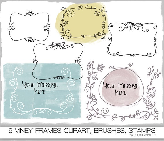 Digital Doodle Brushes & Stamps  Viney Frames. Instant Download. Digital Clipart Png Files. Personal  and Limited Commercial Use.