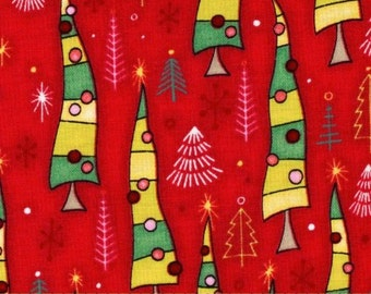 """44"""" Wide One Crazy Christmas Eve Tossed Christmas Trees Red FabricBy the yard Henry Glass"""