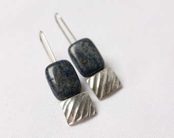 Lapis Lazuli Rectangular earrings made of  Sterling silver, texture, geometric, rectangular, dangle, medium