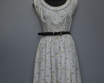 Vintage 1950s Full Skirt Dress, New Look Dress, Cotton Novelty Print, Butterflies, Circle Skirt Summer Dress, Small