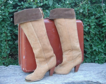 80s Zodiac SUEDE Two Tone Knee High Boots /  Zodiac Leather Boots size 5.5 / Knee High Boots