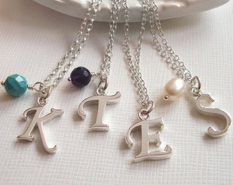 Sterling Silver Script Letter Necklace