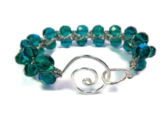 Peacock Dream - Green Bracelet - Wire Wrapped Czech Glass Bead Bangle with Hammered Swirl Clasp - Peacock/Teal/Silver - Mishimon Designs