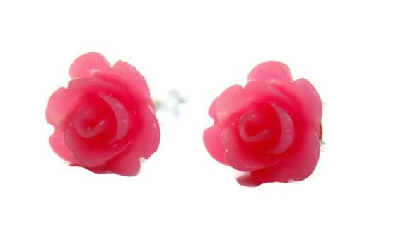 Flower Stud Earrings - neon pink tiny rose