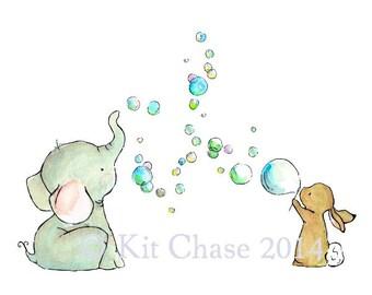 Nursery Art --- Bubble Party -- Art Print
