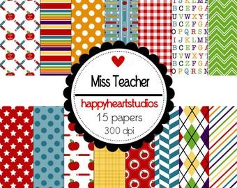 Digital Scrapbook Miss Teacher-INSTANT DOWNLOAD