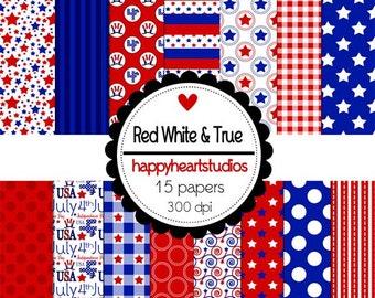 Digital Scrapbooking RedWhite&True -INSTANT DOWNLOAD