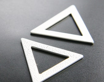 2pcs Matte Silver Plated Base Metal Charm - Triangle 35mm (156C-Q-7)