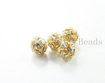 4pcs Czech Gold Tone Base Metal  Rhinestone Balls - Crystal 12mm (1018)