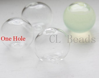 6pcs Hand Blown Hollow Glass Beads- Round Clear with One Hole on the Top 20mm (28H2)