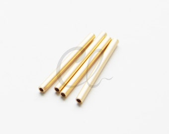 4pcs Premium Matte Gold Plated Tube 2x25mm with ID 1.4mm  (1684C-U-207)