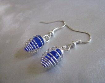 Cobalt Blue - Caged Sea Glass Earrings - Beach Glass Earrings - Dangle Earrings