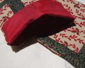 Lined Sandwich Bag--Scrappy Red and Green Leaves