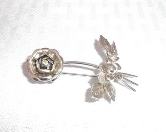 1950's Vintage Rose Brooch Pin with Rhinestone Center