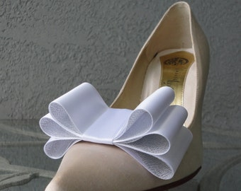 Two Tone Satin Ribbon Bow Shoe Clips White And Silver Set Of Two, More Colors Available