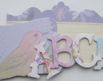 "160 Pc. MEADOWLARK - Chipboard Alphabet Letters & Beautiful Embellishments Pack  -  1.5"" inch Letters"