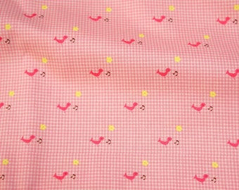 Japanese fabric tiny bird print with gingham background  (HAKO19A)