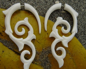 fake gauge earrings - hand made,organic,tribal style,fake piercings,naturally,bone,