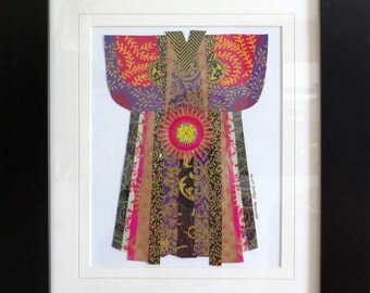 KIMONO PAPER COLLAGE with black frame by Lauretta Lowell