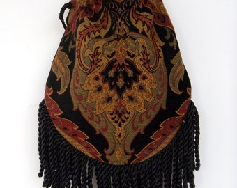 Fringe Tapestry Gypsy Bag Black Cross Body Bag Bohemian  Hippie Bag Festival Bag Renaissance bag Shoulder Bag Hand Bag
