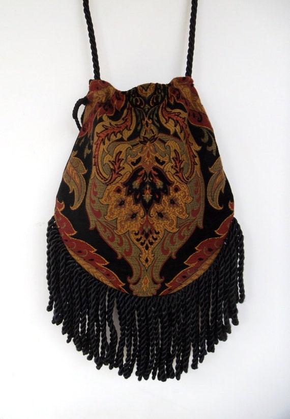 """Gefranst Tapestry """"Zigeuner"""" Bag Black Cross Body Bag böhmischen Indie Tasche Renaissance bag"""