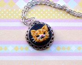 Mini Hand Embroidered Ginger Cat Necklace