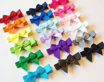 Classic Style Tiny Hair Bow Clips - You Pick 4 Basic Hair Clips Set - Perfect Bows for Babies and Toddlers - Solid Grosgrain Hair Bows