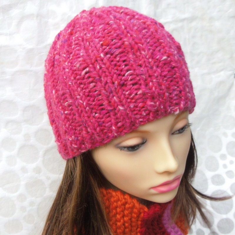 Knitting Pattern Hat Chunky Wool : KNITTING PATTERN/RUSTICO Easy Knit Womans Chunky Hat/Knit