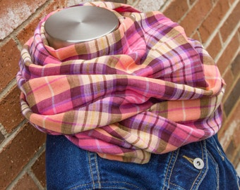 Pink, Purple & Orange Plaid Cotton Spring and Summer Infinity Scarf